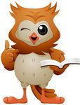 210110-Royalty-Free-RF-Clipart-Illustration-Of-A-Cute-Owl-Winking-Holding-A-Thumb-Up-And-Reading-A-Book